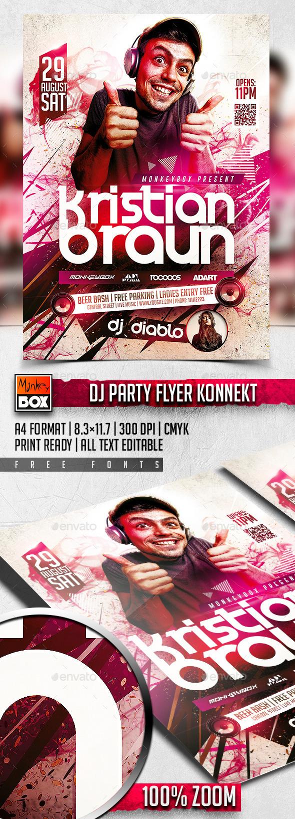 Dj Party Flyer Konnekt - Flyers Print Templates