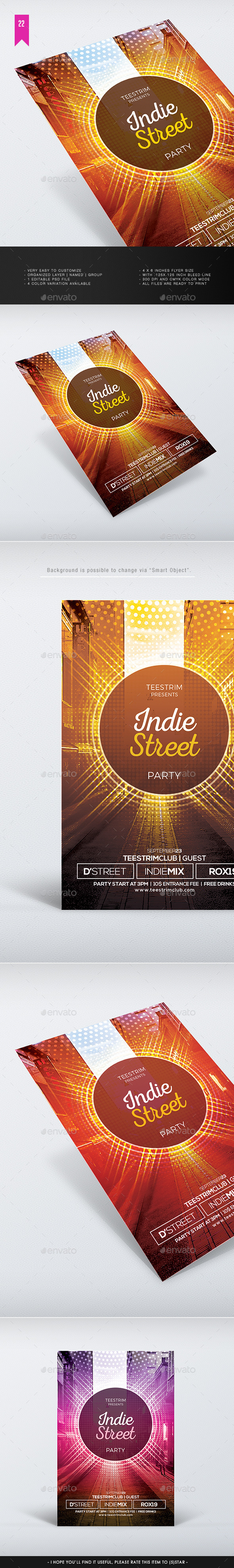 Indie Street - Flyer Template - Clubs & Parties Events