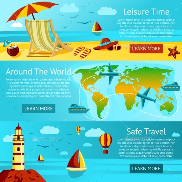 Set of Summer Travel and Leisure Banners - Travel Conceptual