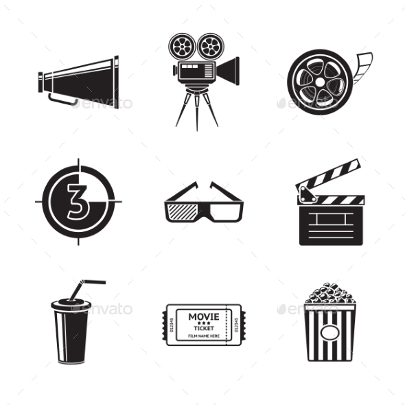 Cinema Movie Icons Set With Projector Film