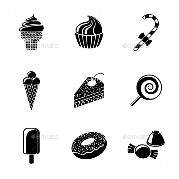 Sweet Icons Set With Cupcake Donut Cake Ice