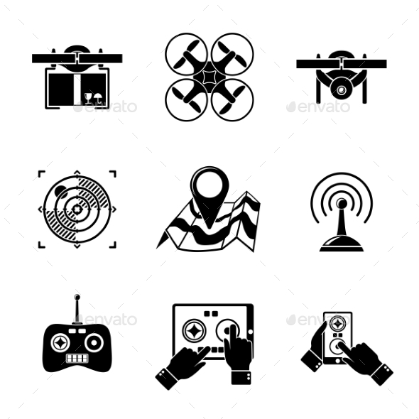 Set Of Drone Icons - With Box, Top View - Technology Icons