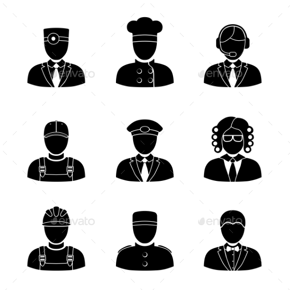 Monochrome People Faces Of Different Professions - - People Characters