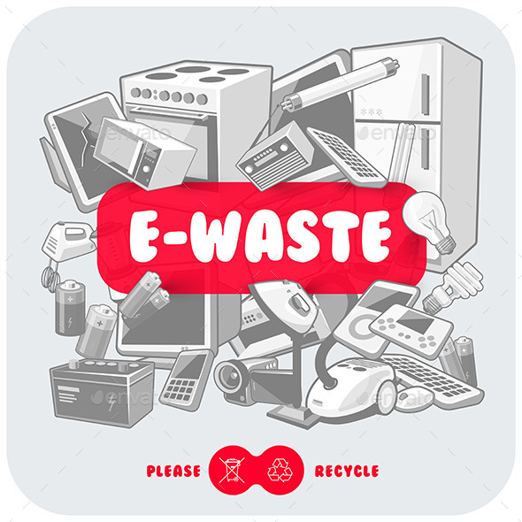 Grey E-Waste with Red Sign Board - Man-made Objects Objects