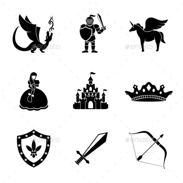 Set Of Monochrome Fairytale, Game Icons With - - Characters Icons