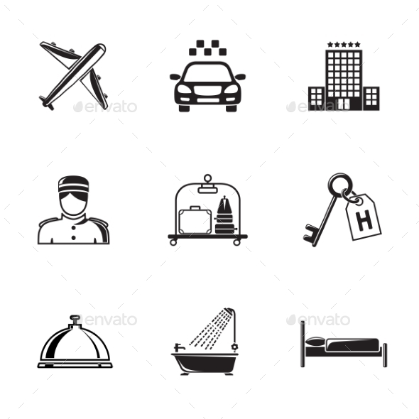 Hotel and Service Monochrome Black Icons Set - Travel Conceptual