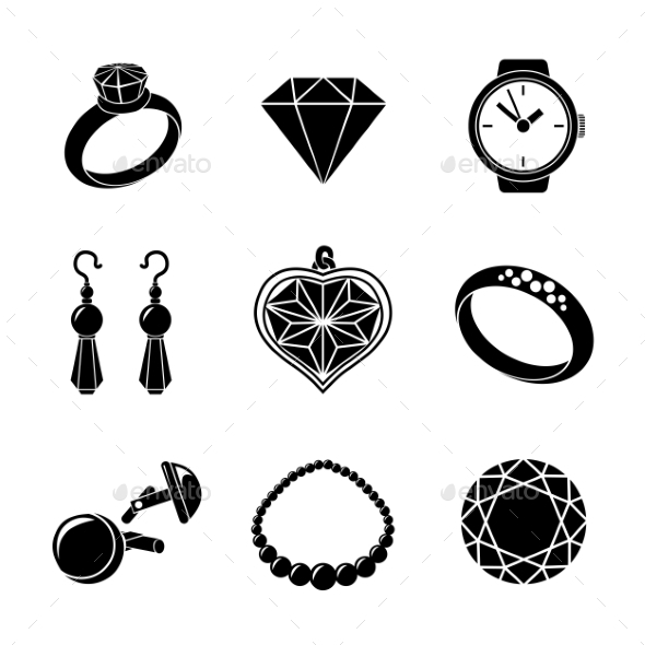 Jewelry Monochrome Icons Set With - Rings - Icons