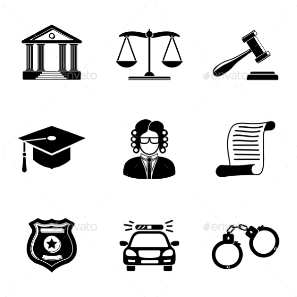 Law Justice Monochrome Icons Set