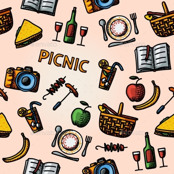 Color Hand Drawn Picnic Pattern - Patterns Decorative