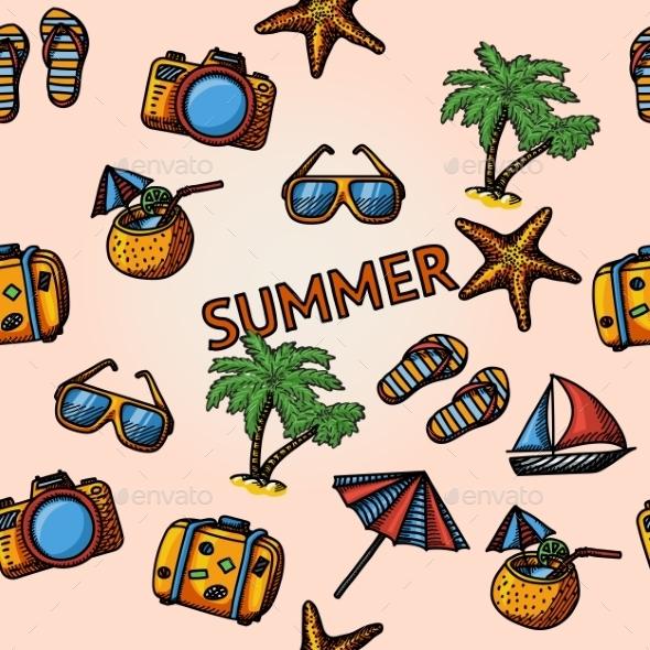 Seamless Summer Hand-Drawn Pattern - Patterns Decorative
