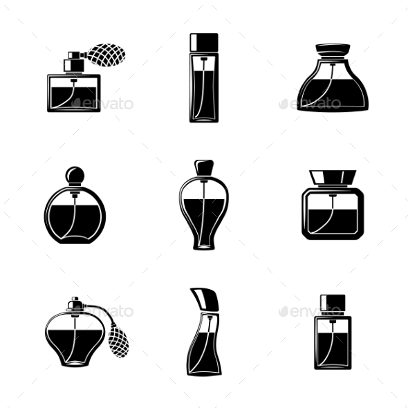 Perfume Icons Set With Different Shapes Of Bottles - Objects Icons