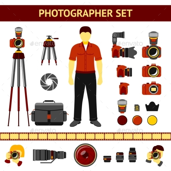 Set of Photographer Icons - Media Technology