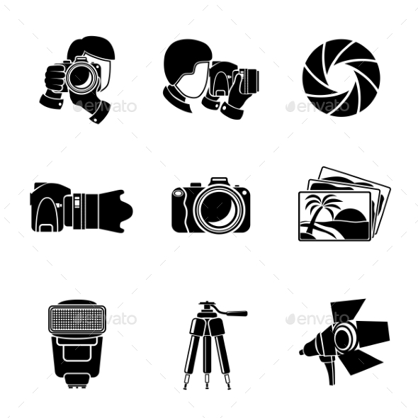 Photographer Monochrome Icons Set With Shutter