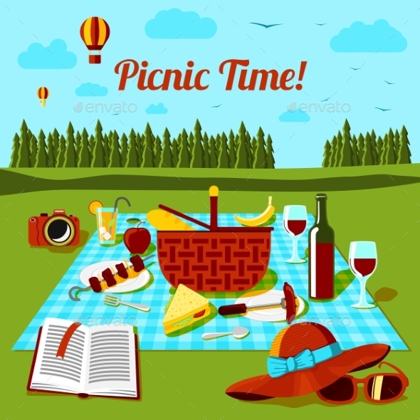 Picnic Time Poster with Different Food and Drink