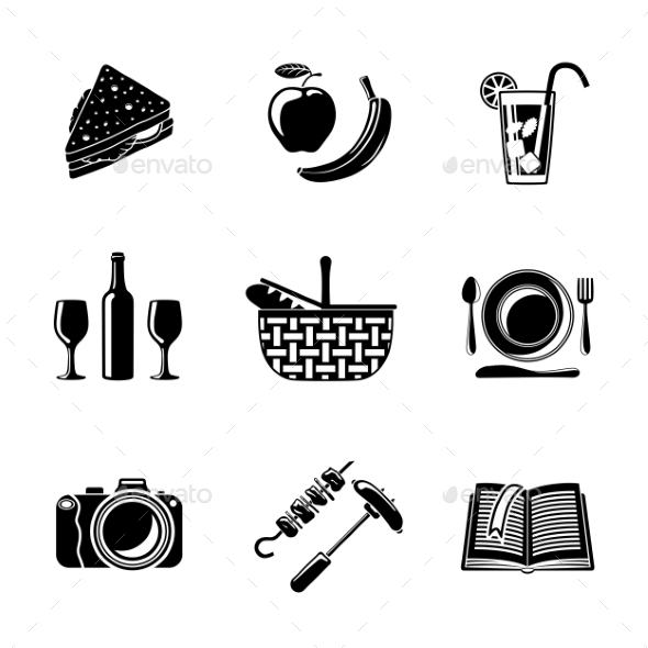 Set Of Monochrome Picnic Icons - Basket, Plate - Food Objects