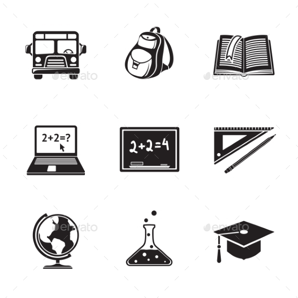 School Education Monochrome Icons Set With Globe