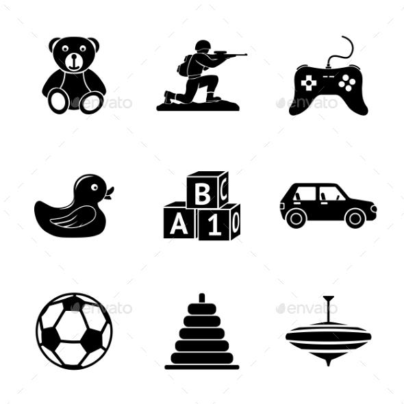 Toys Icons Set With Car Duck Bear Pyramid