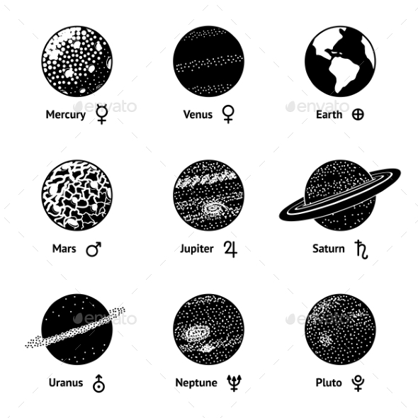 Set Of Monochrome Planet Icons With Names And - Miscellaneous Icons