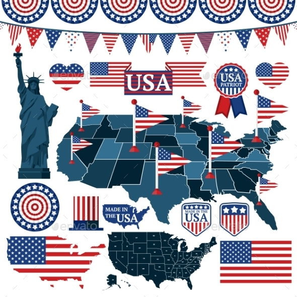 Set of USA Symbols - Travel Conceptual