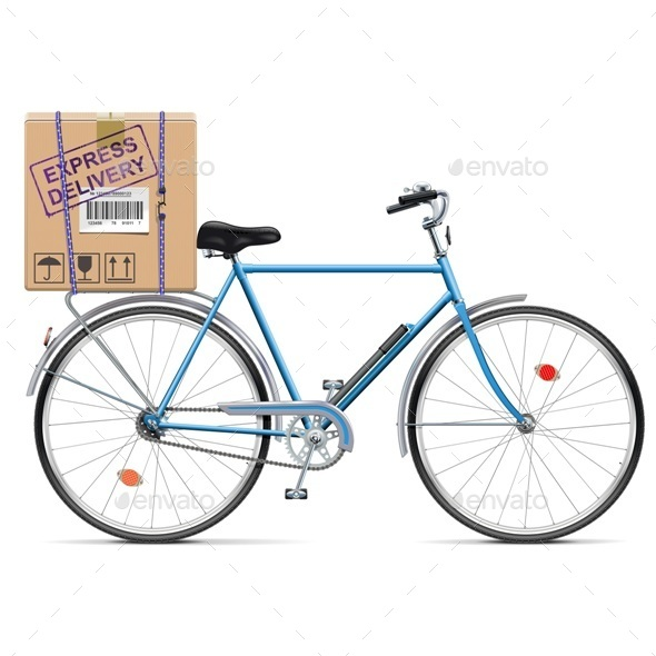 Delivery Bicycle with Carton Box - Services Commercial / Shopping