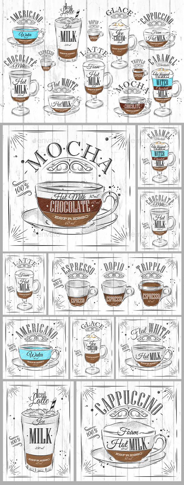 Set Coffee Coal - Food Objects
