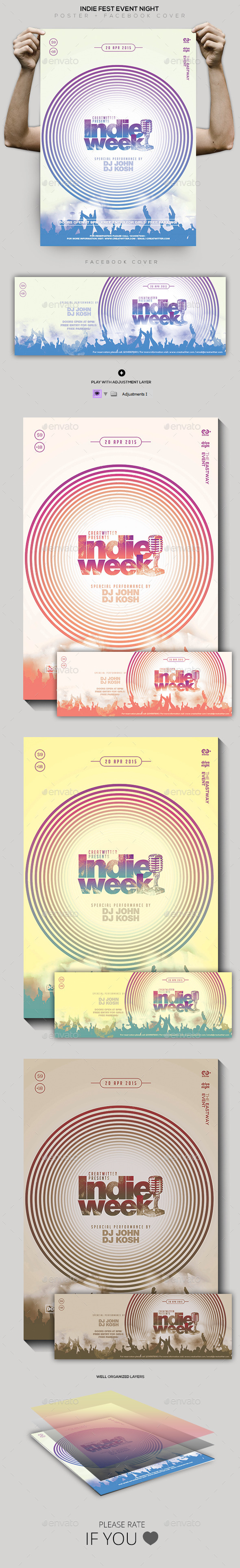 Indie Fest Event Flyer / Poster / Facebook Cover - Clubs & Parties Events