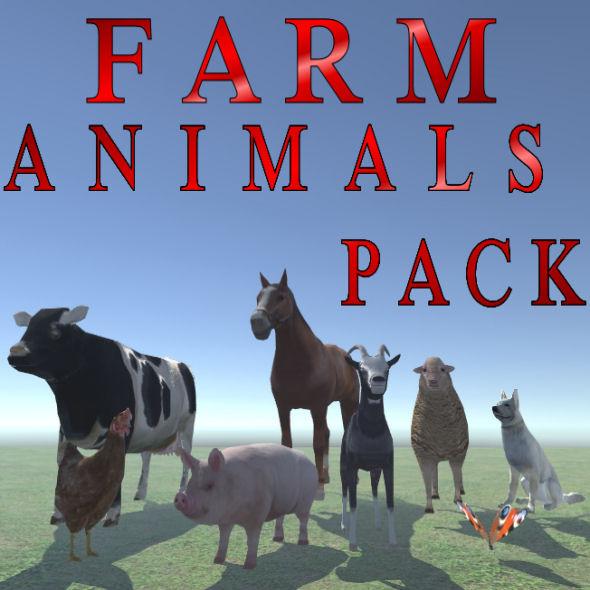 Farm Animals Pack Low Poly - 3DOcean Item for Sale