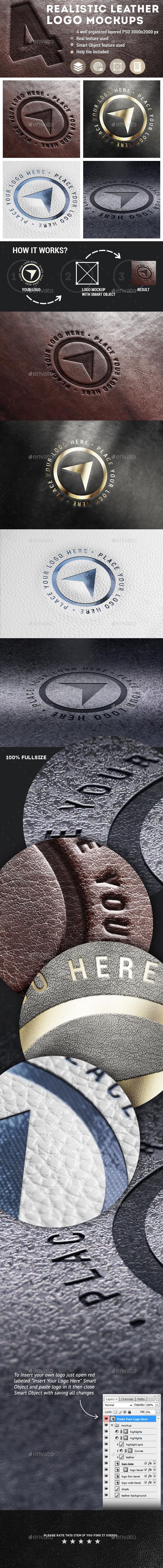 4 Realistic Leather Logo Mockups - Logo Product Mock-Ups