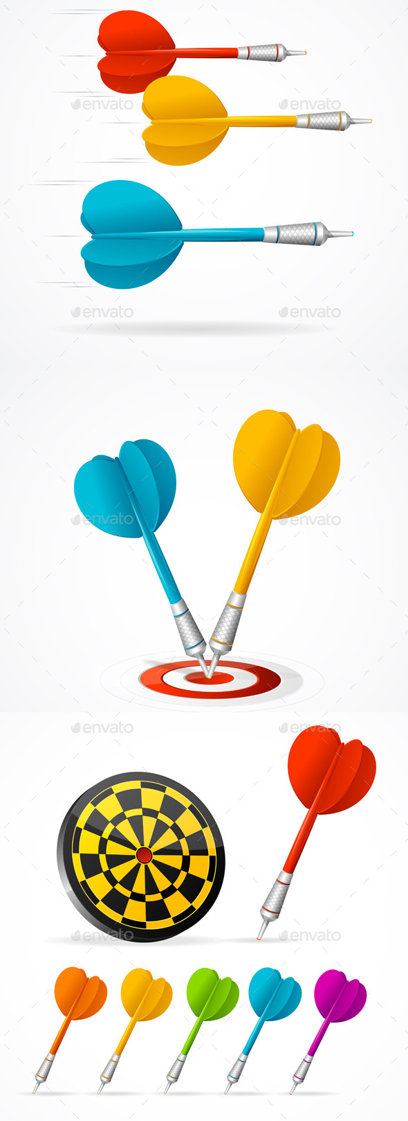 Set of Colored Darts and Target - Sports/Activity Conceptual