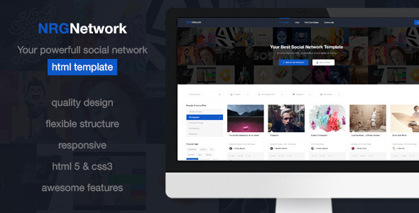 NRGnetwork – Your powerful social network Template