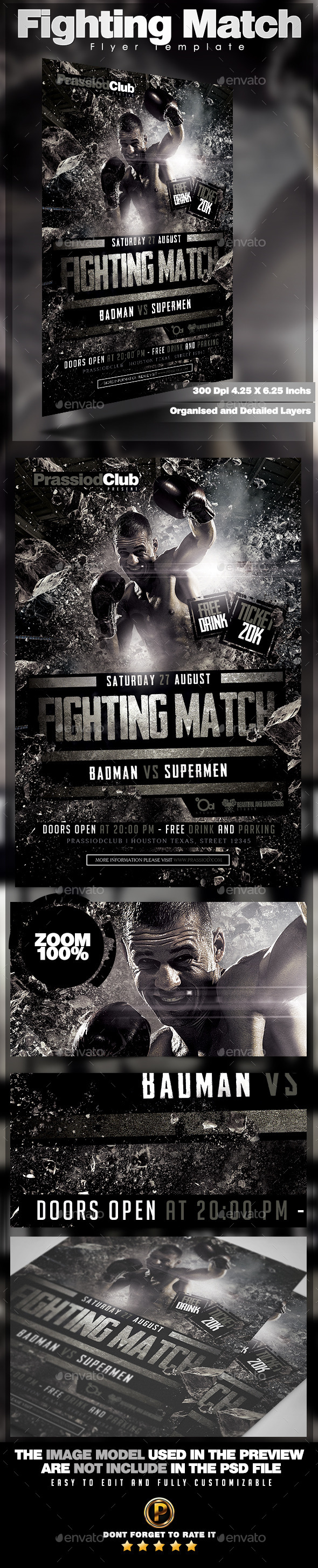 Fighting Match Flyer Template - Sports Events