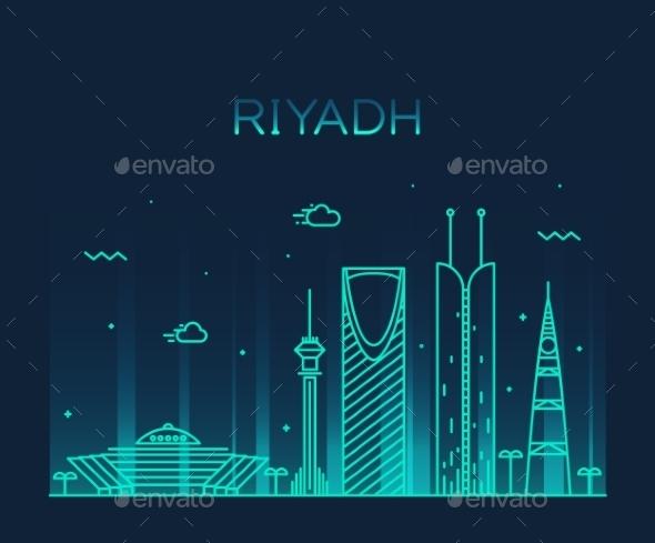 Riyadh Skyline Trendy Vector Illustration Linear - Landscapes Nature