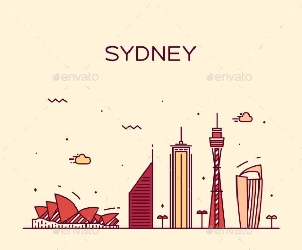 Sydney Skyline Trendy Vector Illustration Linear - Landscapes Nature