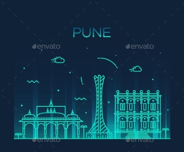 Pune Skyline Trendy Vector Illustration Linear - Landscapes Nature
