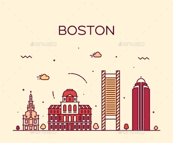 Boston Skyline Trendy Vector Illustration Linear - Landscapes Nature