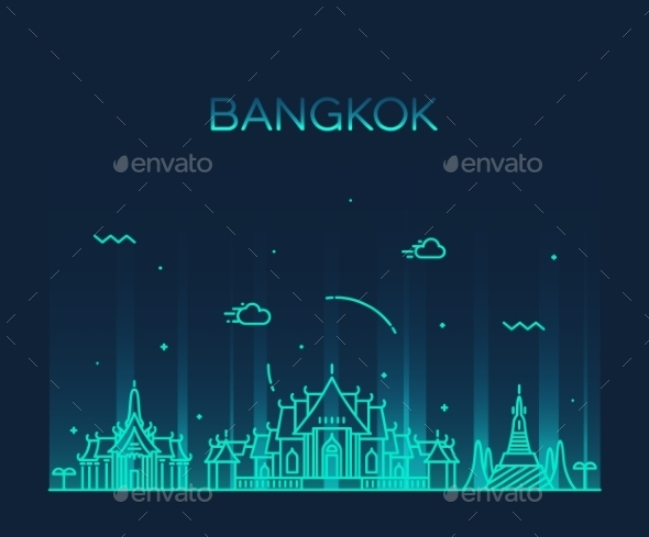 Bangkok Skyline Trendy Vector Illustration Linear - Decorative Symbols Decorative