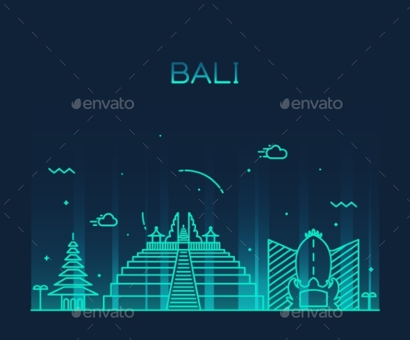 Bali Skyline Trendy Vector Illustration Linear - Religion Conceptual