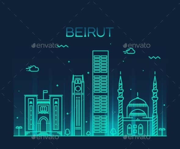 Beirut Skyline Trendy Vector Illustration Linear - Landscapes Nature