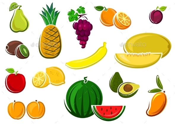 Juicy Healthy Fresh Isolated Fruits - Food Objects