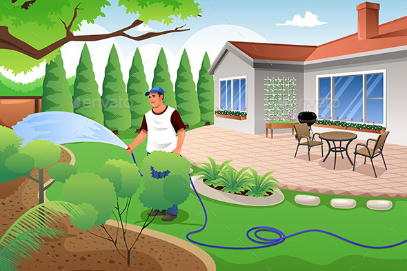 Man Watering His Grass and Garden - People Characters