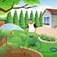 Man Watering His Grass and Garden - GraphicRiver Item for Sale