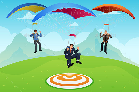 Businessmen with a Parachute - Concepts Business