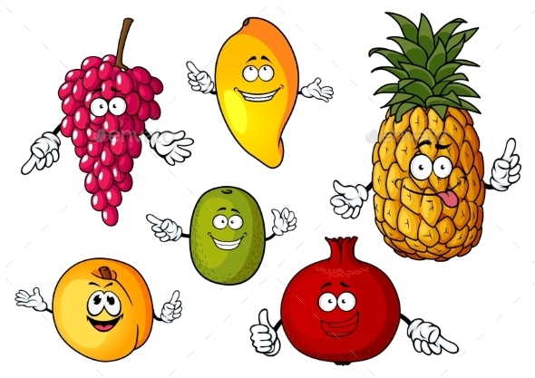 Cartoon Happy Fresh Fruits Characters - Food Objects