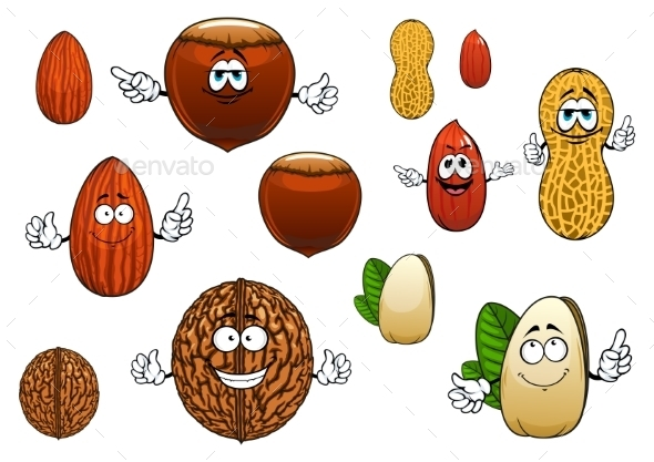Cartoon Isolated Funny Nuts Characters  - Food Objects