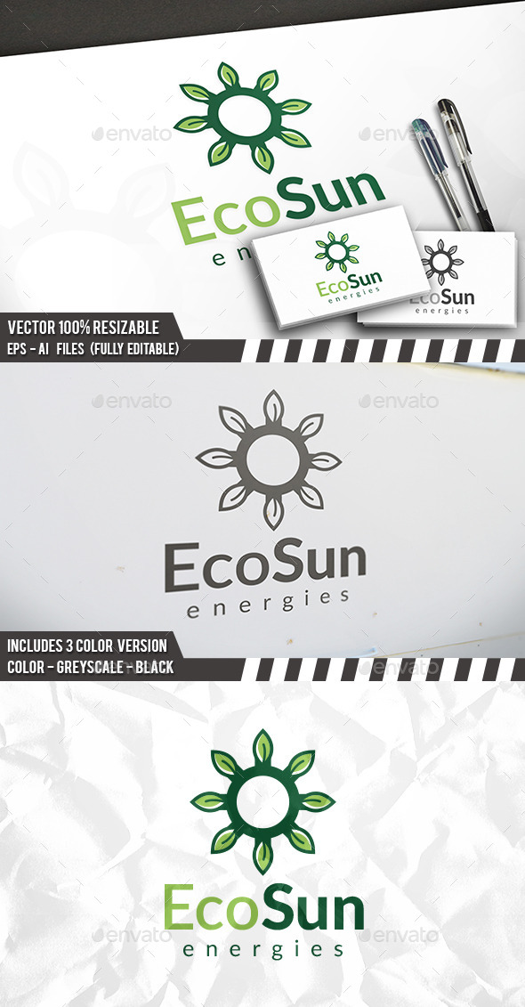 green sun logo by bosstwinsart graphicriver