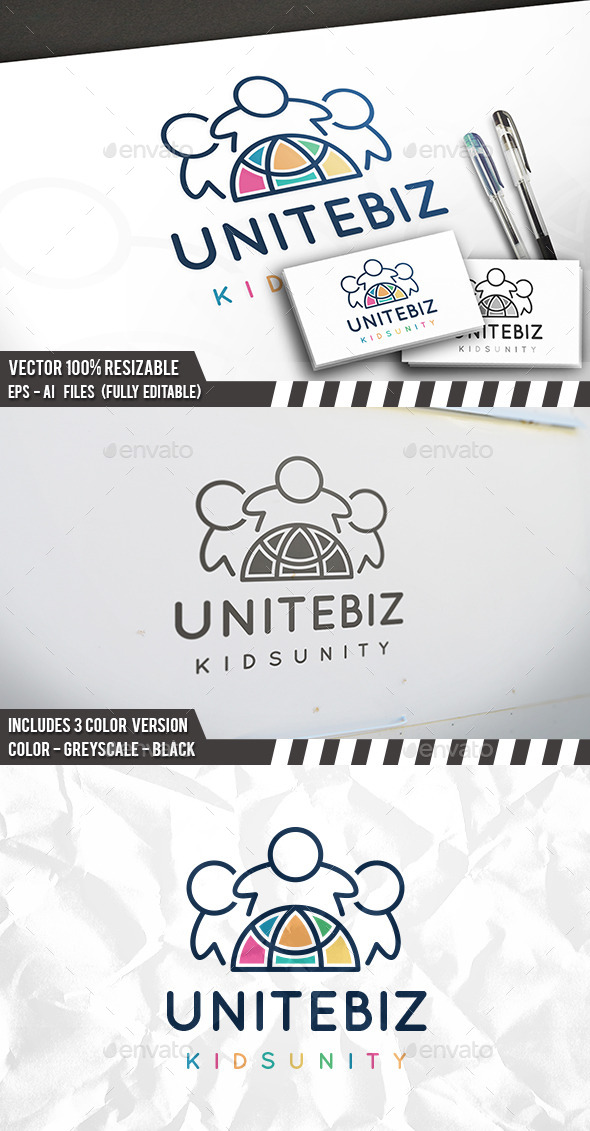 United Kids Logo Template - Humans Logo Templates