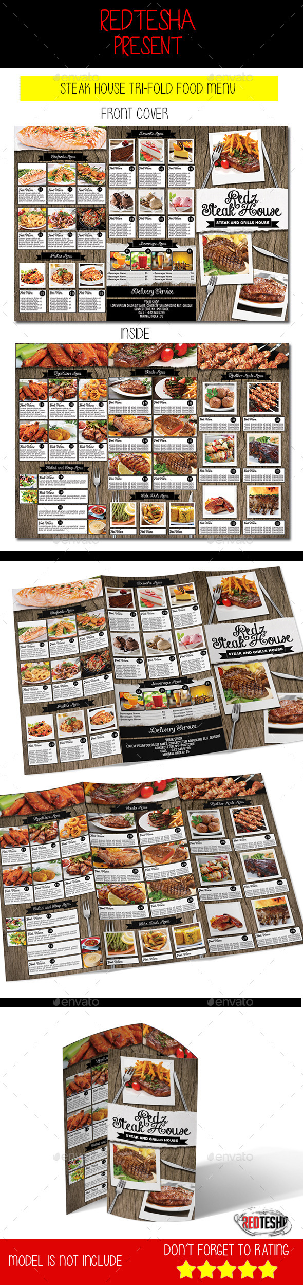Steak House Tri-fold Menu - Food Menus Print Templates