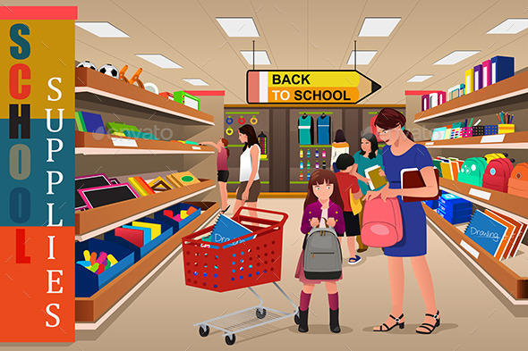 Kids with Their Parents Buying School Supplies - Commercial / Shopping Conceptual