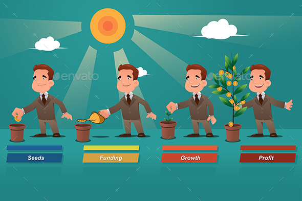 Businessman Watering the Money Tree - Concepts Business