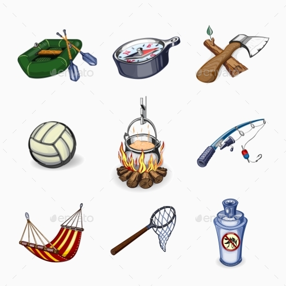 Set Of Tourism And Camping Icons